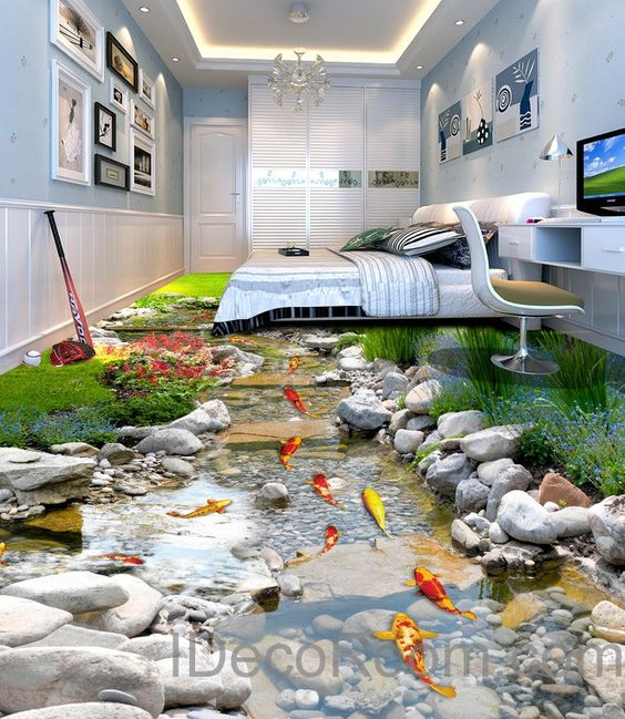 3d fish stone stream floor decals wallpaper murals wall print sticker kitchen bathroom business. Black Bedroom Furniture Sets. Home Design Ideas