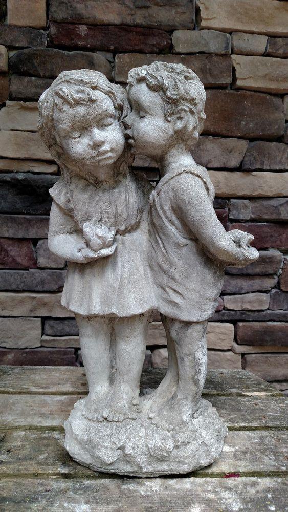 Vintage Cement Boy Kissing Girl Garden Statue Boys Kissing Girls Garden Girls Garden Statues