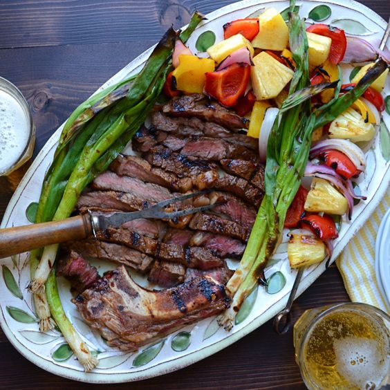 easy marinated rib-eye and veg