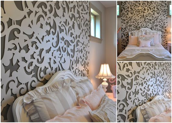 This is the best decor idea. A lattice cutout creating a whimsical and striking backdrop behind the bed in a girls bedroom.  #design #inspiration #lace #bedroom #wall