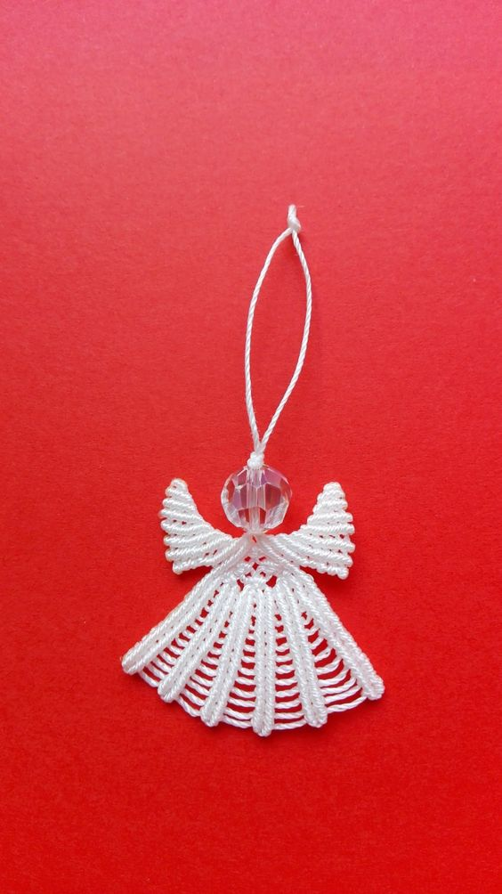 CHRISTMAS MACRAME' ANGEL, christmas gift, gift, macramè angel, white angel,knitting,made in Italy,christmas ornament,christmas tree ornament di MuciddosBeads su Etsy
