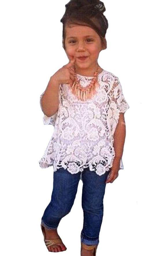 Baby Girls Clothing Set Lace Top White T-Shirt Denim Jeans 3 Pcs/Suit 2-3T White