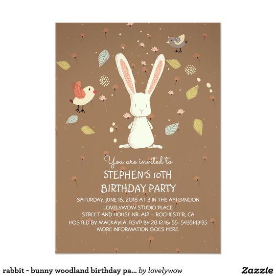 coelho - festa de aniversário da floresta do convite 12.7 x 17.78cm