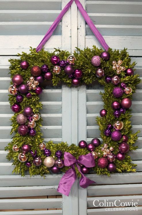 A square purple wreath - an unusual but very effective addition to your Christmas decor