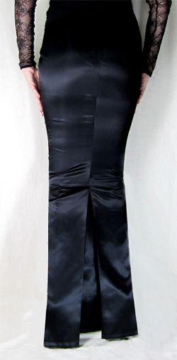 Satin Hobble Skirt Full Length with Kick Pleat