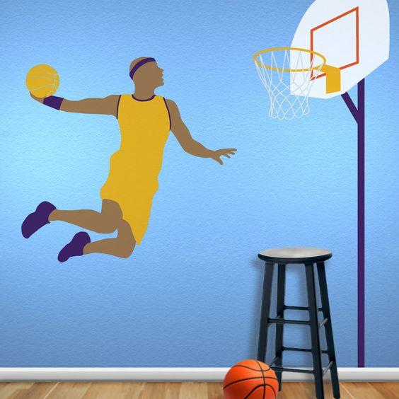 Basketball Wall Mural Stencil Kit for Boys Sports Room. $50.00, via Etsy.