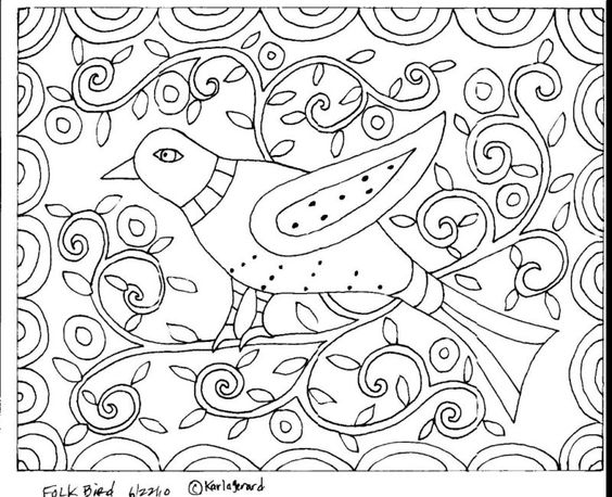 Folk art birds and craft papers on pinterest for Folk art coloring pages