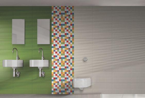 Serie Brooklyn Muro cerámico con una brillante paleta de colores y un moderno formato rectangular