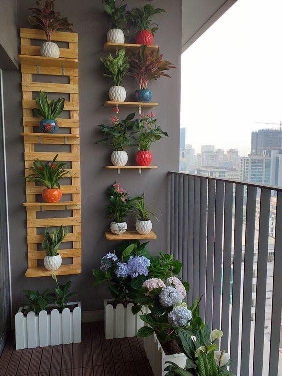 Jardín vertical con soportes y baldas