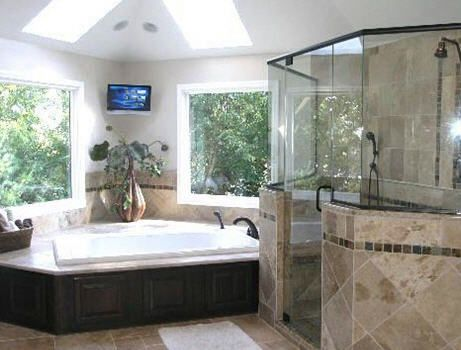 Big tub shower tvs and bathroom on pinterest for Pictures of big bathrooms