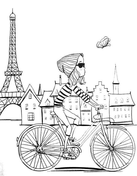 Paris Coloring Book : Paris coloring pages for adults