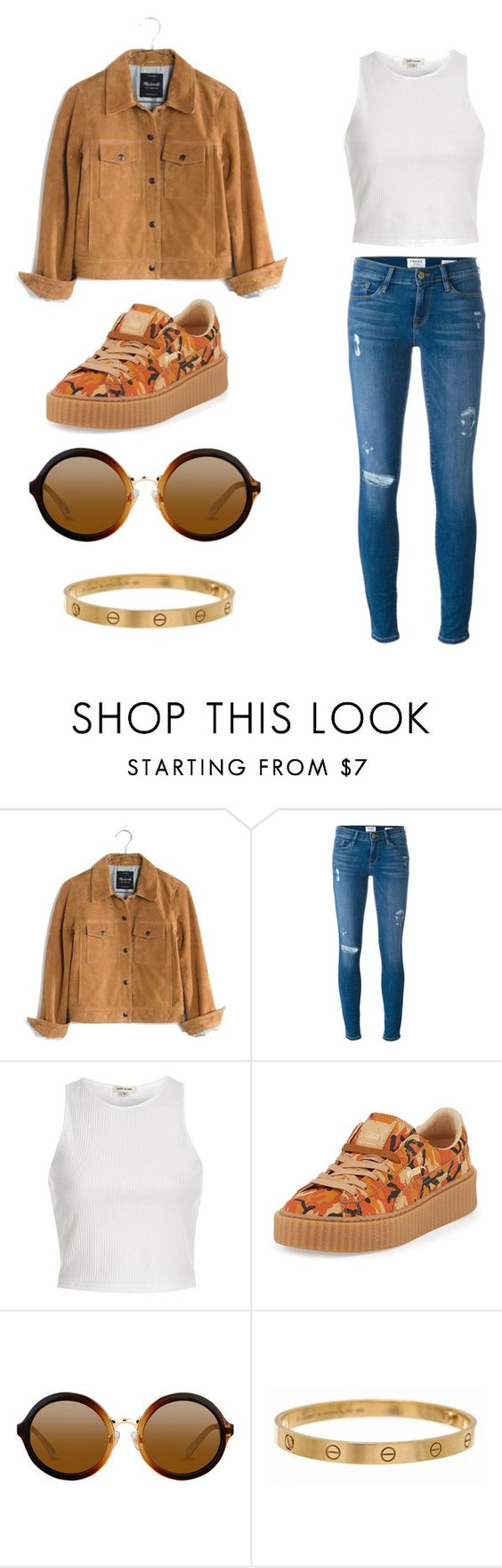 """Untitled #401"" by xsherinx ❤ liked on Polyvore featuring Madewell, Frame Denim, River Island, Puma and Cartier"