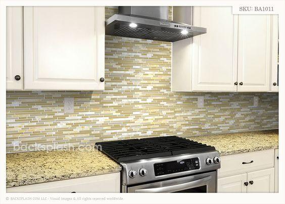 Glass tile back splash beige kitchen cabinets new venetian gold granite onyx backsplash tile - Tile splash kitchen ...
