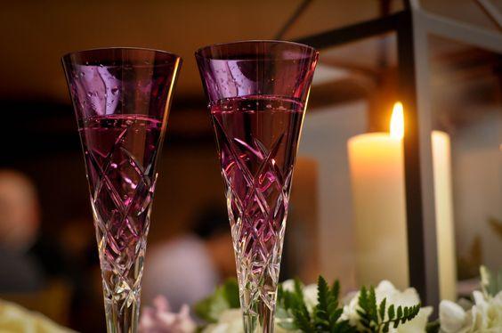 Vibrant champagne glassware - functional decor.