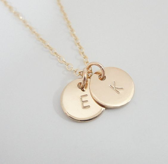 Tiny Gold Filled Initial Necklace Two Initials by SivadoStudio