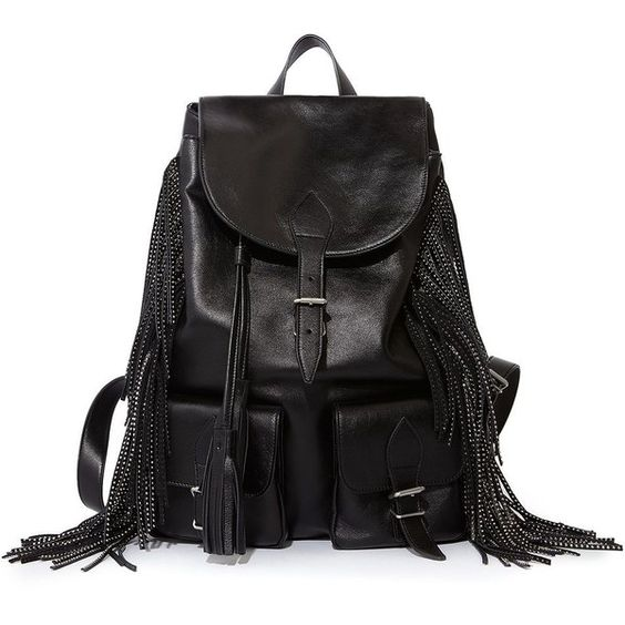 Festival Fringed Backpack In Black Leather