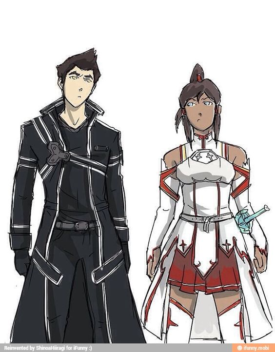 I'm not sure what I think about this. Korra as Asuna, yes, but Mako as Kirito.... I dunno, man. Aang and Katara might have been better because their ship never sank