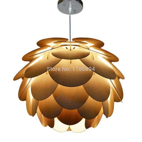 Aliexpress.com: Comprar Envío gratis! Colgante de madera de la lámpara, una hermosa lámpara, que está hecho de madera contrachapada, se parece a un cono de pino redondo , de la luz de la lámpara fiable proveedores en Oaklamp Deco Lighting