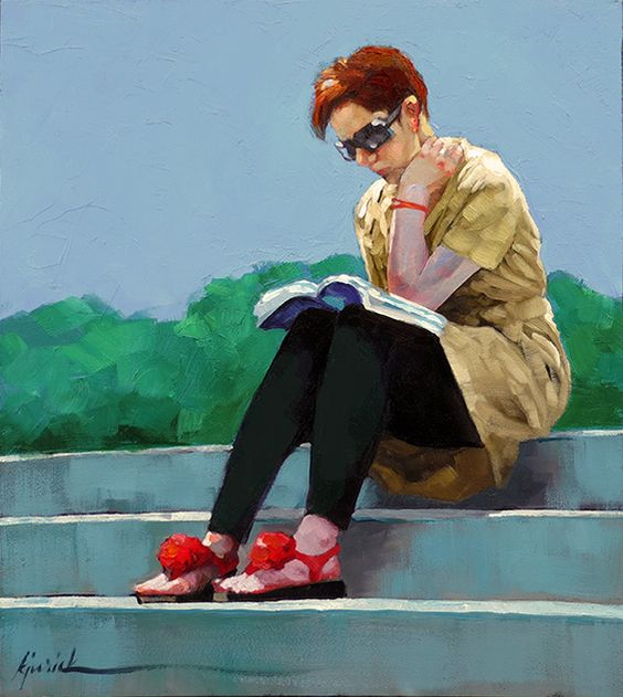 """A Painting Today: """"Reading Up On"""" Karin Jurick"""
