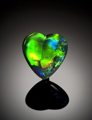 Heart-Shaped Black Opal