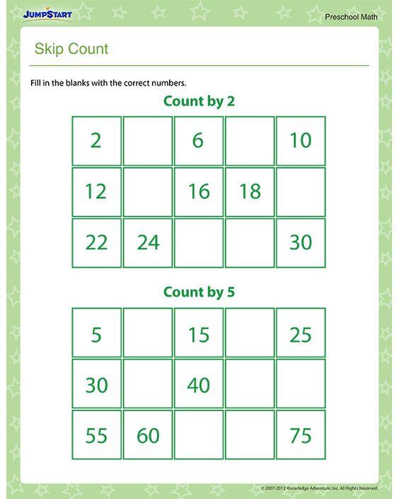 Skip Count Free Math Worksheet for Preschool – Smart Kids Math Worksheets