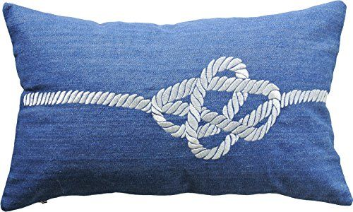 """BLUE DOLPHIN Decorative Knot Embroidery Throw Pillow COVER 20X12"""" Navy Blue Dolphin http://www.amazon.com/dp/B0184D0F5Y/ref=cm_sw_r_pi_dp_TeC2wb03V9RXY"""