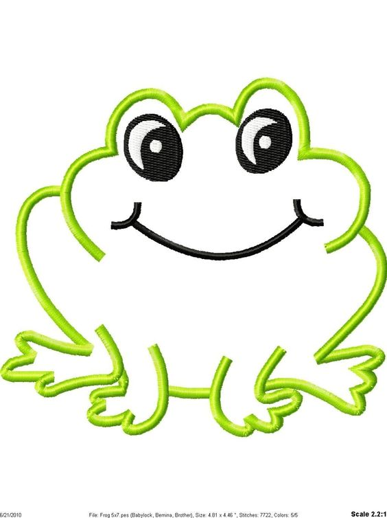 Frog machine embroidery applique design designs