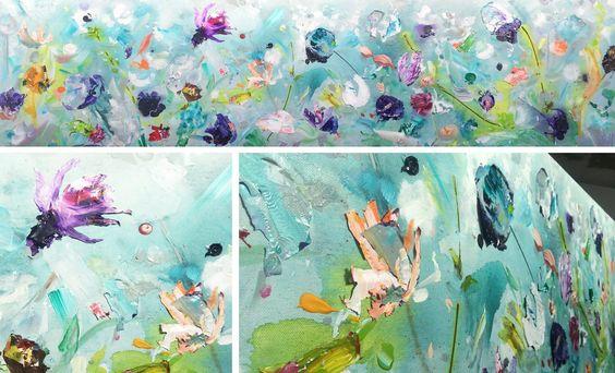 nieuw   Paarse pracht   200 x 50 cm   acryl & paletstukken   #kunst #haarlem #bloemen
