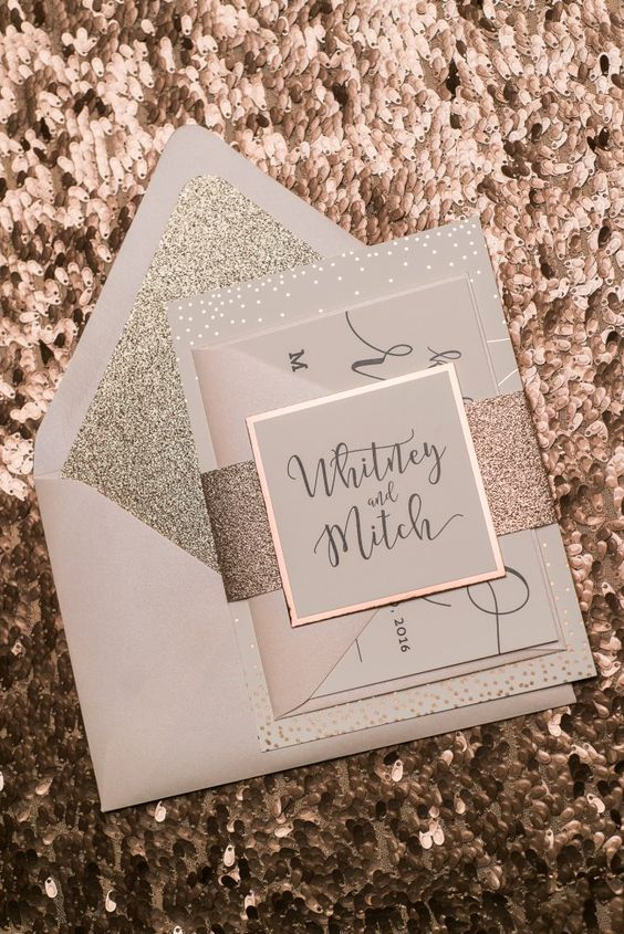 Rose Gold Foil Wedding Invitations, Digital and Foil Printing, Blush and Rose Gold, Jupiter and Juno