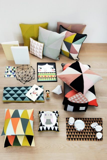 I am loving geometric patterns for the home. This collection of goodies has great color too.:
