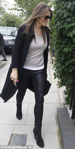 Another image of Liz Hurley in our Cashmere Coco Coat! #LizHurley #NUANCASHMERE #Fashion #Coat