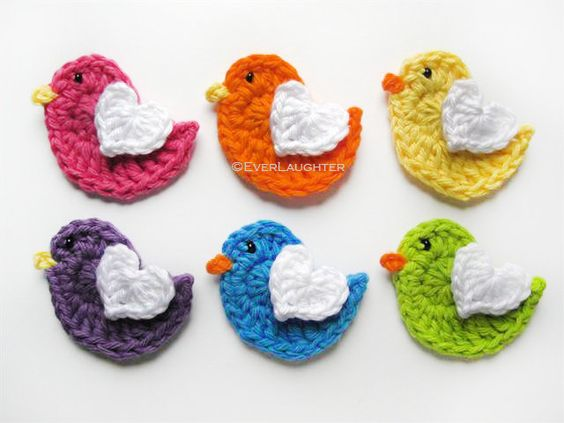 crochet heart with angels wings   Applique Heart Pattern