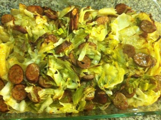 cabbage and sausage cooked