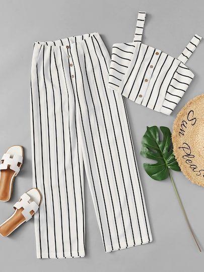 Single Breasted Striped Cami Top With Pants Moda De Ropa Ropa Para Ninas Fashion Ropa Tumblr Mujer