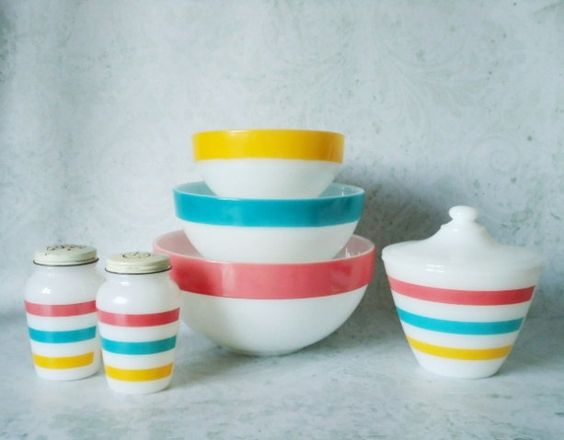 Retro Fire King Pastel Striped Bowls - Vintage Fire King - Striped Glass Kitchen Set: