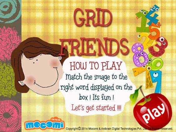 #GridFriends - #Educationalgames for kids such as Grid Friends, teaches you little one's how to identify pictures with words. For more interacting #gameforkids, visit: http://mocomi.com/fun/games/