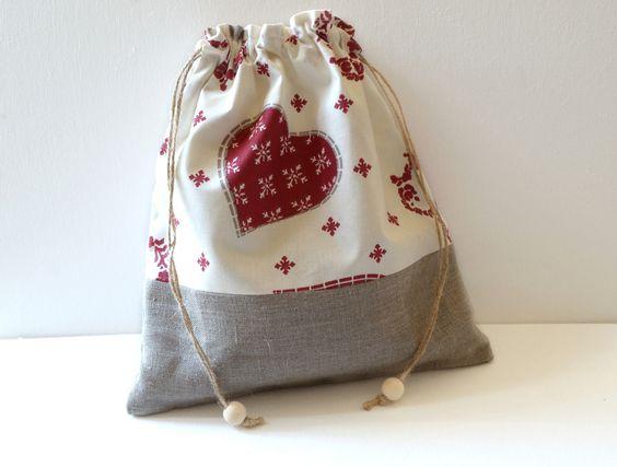 Pochon en lin naturel et coton écru imprimé : Autres sacs par lin-temporelle
