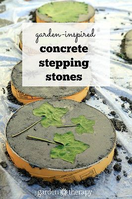These concrete stepping stones are a true reflection of your garden when imprinted with leaves from the surrounding plants. These can be made in an afternoon and cost less than $2 each in materials, making them a thrifty yet beautiful garden DIY project.: