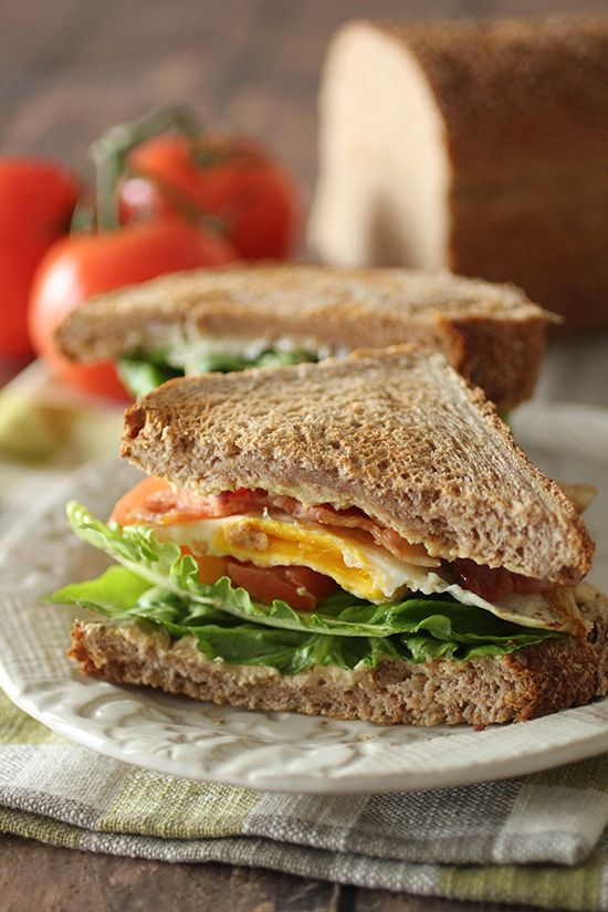 Egg and BLT Breakfast Sandwich, 200 calories 2 slicesWhole grain bread ...