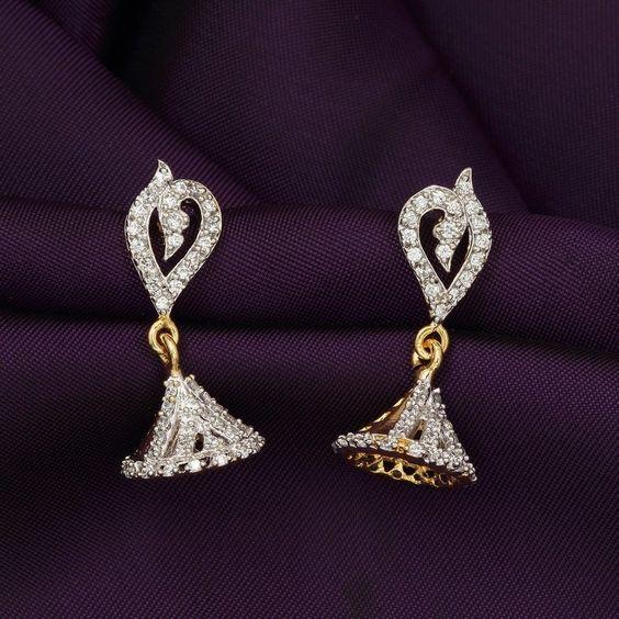Drop Dangler AD CZ Bollywood Traditional Ethnic Jhumka/Jhumki Indian Earrings #DesaiJewellers #DropDangle
