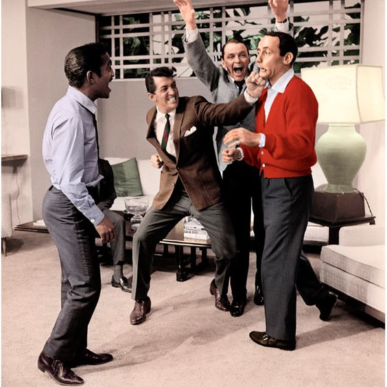 Sammy Davis Jr, Dean Martin, Frank Sinatra and Joey Bishop clowning around on the set of Ocean's 11, 1960