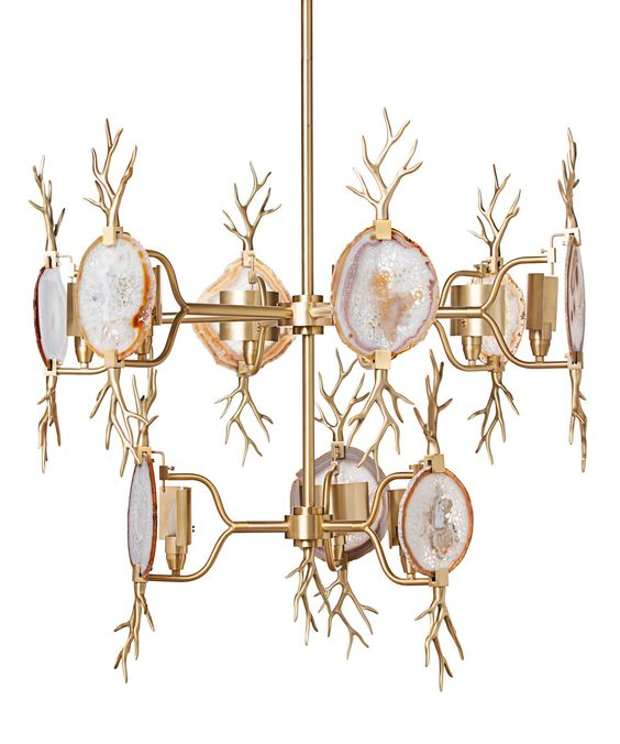 Two-Tiered Branch Agate Chandelier - Brass