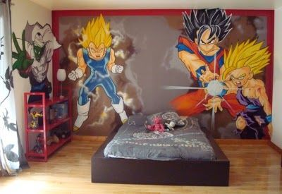 Dormitorio tema dragon ball z cosas para comprar for Dessin sur mur interieur