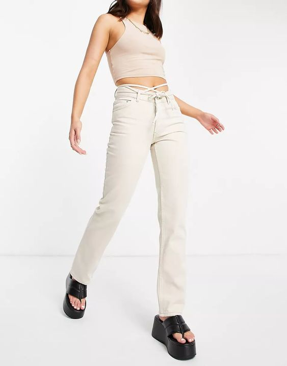 Mid-Rise Straight Leg Jeans in Ecru with Strap Detail ASOS DESIGN