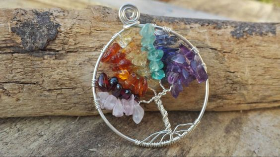 Silver rainbow chakra tree of life necklace rose by GypsyManders