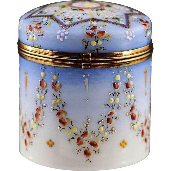 Antique Victorian era Opaline enamelled glass trinket hinged Box, Shop Rubylane.com