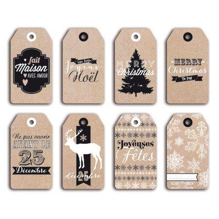 8 formes découpées en papier – Die-cuts – Etiquettes tags Kraft Noël