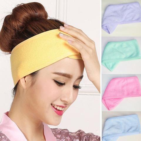 Adjustable Soft Towelling Hair Turban Head Band for Make Up Facial Salon Spa
