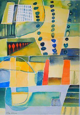 """Saatchi Online Artist: Alexandra Ackerman; Watercolor, 2012, Painting """"Summer Quilt"""""""
