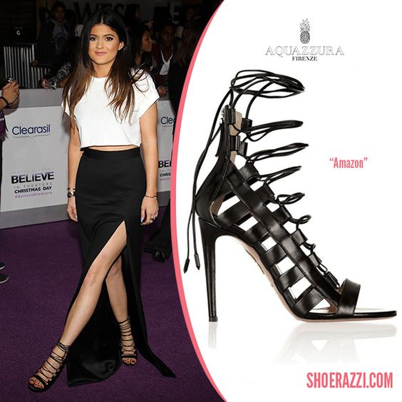 Kylie Jenner in Aquazzura Amazon Black Leather Lace-Up Sandals ...